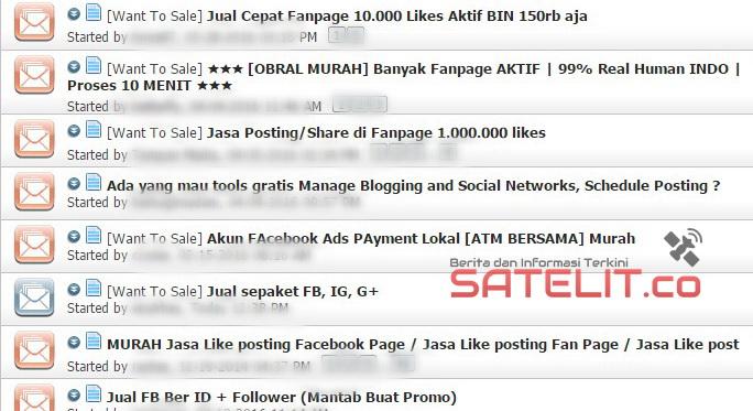 SEJUMLAH netizen yang menjual akun jejaring sosial di forum online.