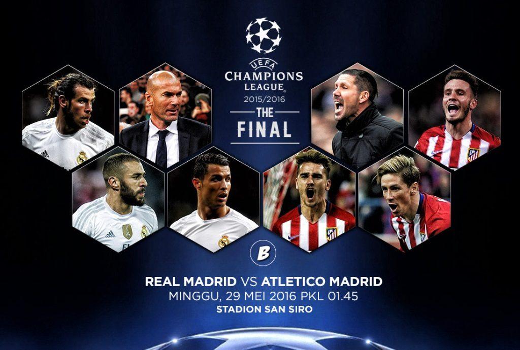 Siaran TV yang menyiarkan Final UEFA Champions League Atletico Madrid vs Real Madrid