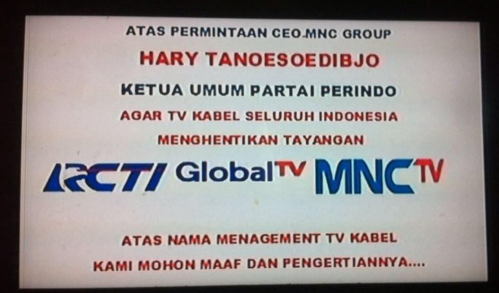 PENGUMUMAN Tepian Cable Network atas penghentian tiga channel RCTI, GobalTV dan MNCTV.