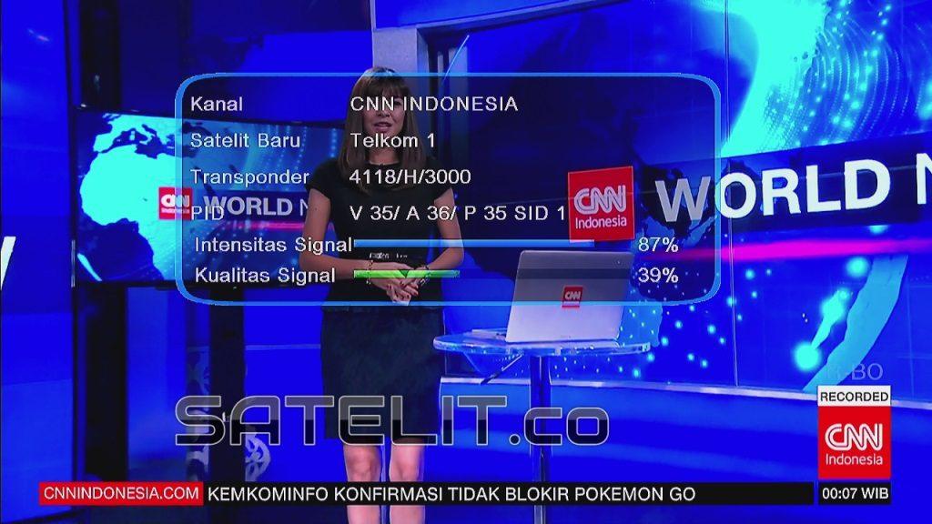 SINYAL CNN Indonesia di Telkom 1 sedikit pelit, namun masih mudah didapatkan.