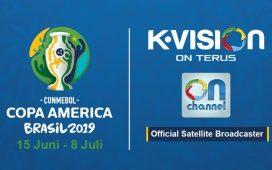 TELEVISI berbayar K Vision adalah pemegang hak siar Copa America 2019 di Indonesia. (Dok. K Vision)