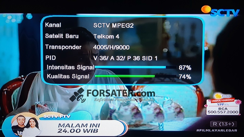 Frekuensi SCTV dan Indosiar Terbaru di Satelit Telkom 4