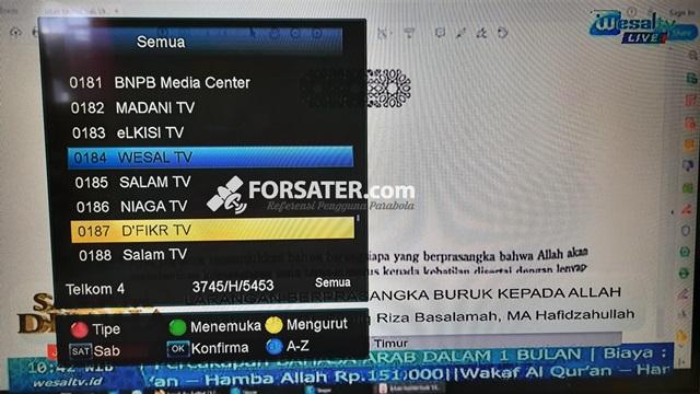 Frekuensi Terbaru Wesal TV, Salam TV, Madani TV, elKisi TV dan D'Fikr TV di Telkom 4