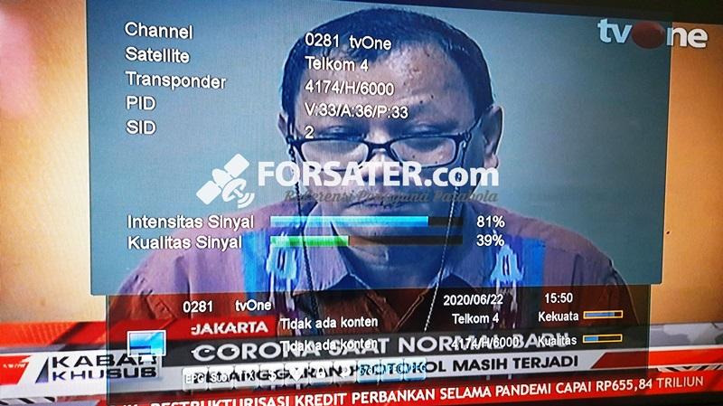 Frekuensi tvOne terbaru di Telkom 4