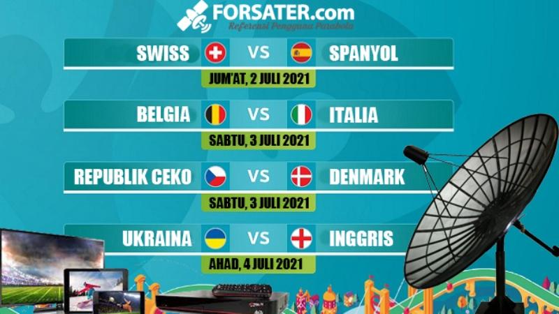 Jadwal siaran TV perempat-final EURO 2020 di parabola.